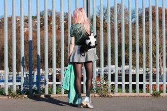 kayla hadlington blogger jacket top sequins silver skater skirt panda