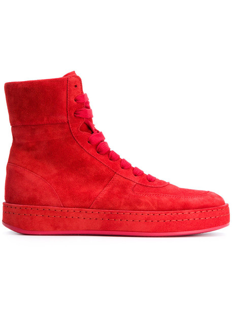 ANN DEMEULEMEESTER women sneakers lace leather suede red shoes