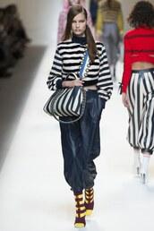 pants,stripes,purse,fendi,milan fashion week 2016