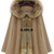 Camel Fur Hooded Buckle Ruffles Cape Coat - Sheinside.com