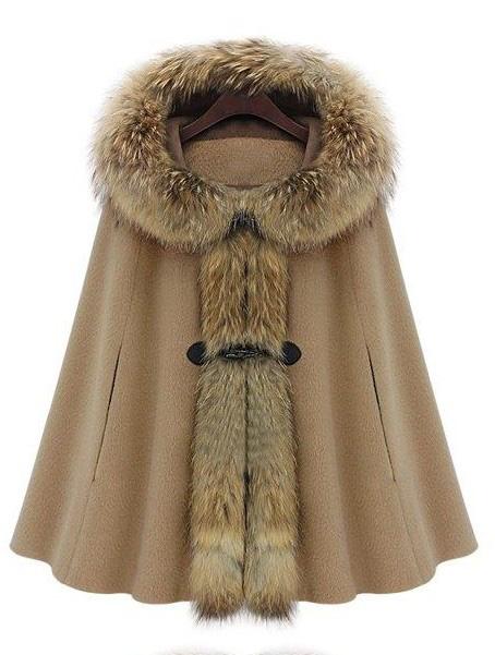 Camel Fur Hooded Buckle Ruffles Cape Coat - Sheinside.com