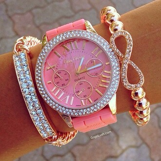 belt jewels pink watch jewelry arm candy wrist gold watch bracelets stacked bracelets rose gold bling