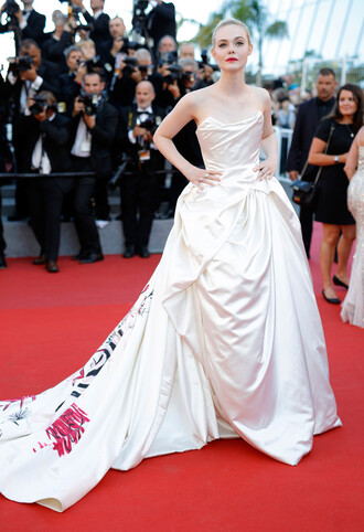dress bustier bustier dress gown prom dress long dress elle fanning cannes red carpet dress