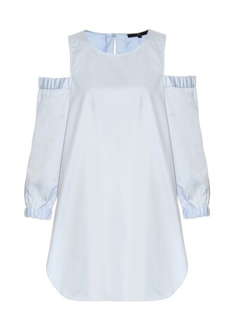 tunic cut-out cotton light blue light blue top