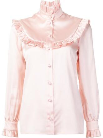 blouse ruffle purple pink top