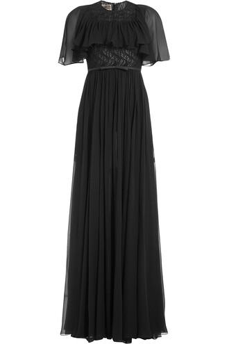gown draped silk black dress