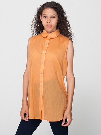 Sleeveless Lawn Button-Up | American Apparel