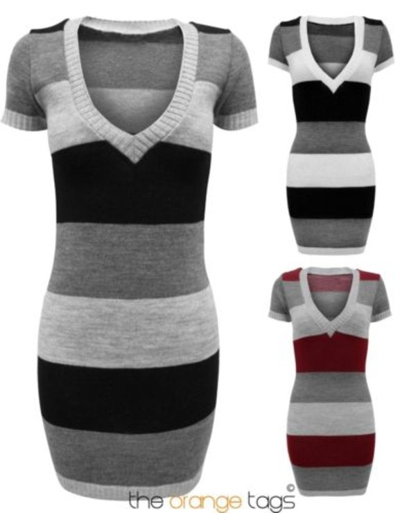 dress long dress long v-neck knitwear knitted dress striped dress stripe jumper jumper short sleeve dress top sweater grey black wine fashion