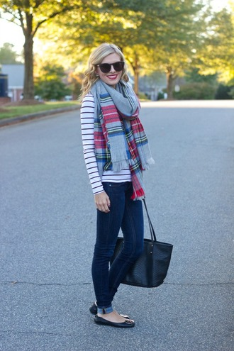 life with emily blogger top scarf jeans bag stripes tartan earrings flannel scarf jewels shoes asos