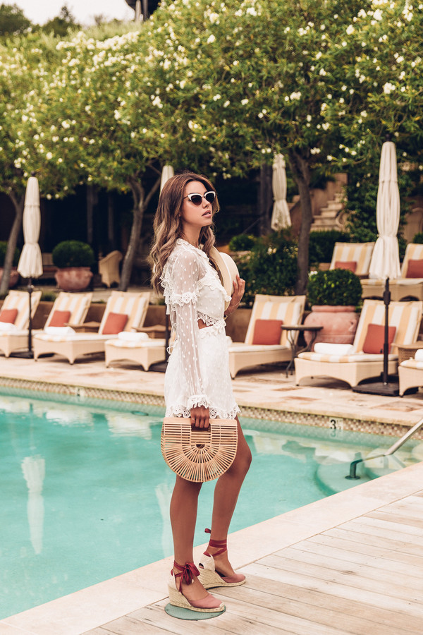 vivaluxury - fashion blog by annabelle fleur: nyfw mini moment blogger romper hat shoes sunglasses jewels cult gaia bag white romper long sleeve romper wedges summer outfits