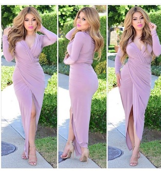 dress outfit cute cute dress long sleeves long sleeve dress pink dress pink nude high heels high heels heels shoes summer outfits date outfit spring outfits style fashion slit dress