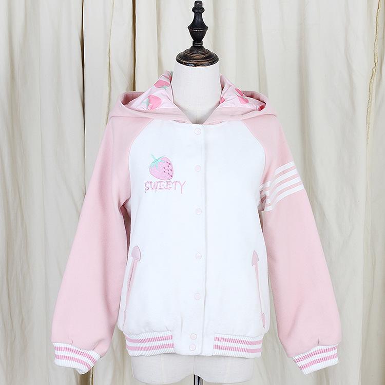 New Cute Strawberry Woolen baseball jackets · Harajuku fashion · Online Store Powered by Storenvy