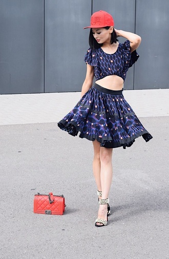 sunzibar blogger top skirt shoes bag red bag cap sandals high heel sandals two piece dress set