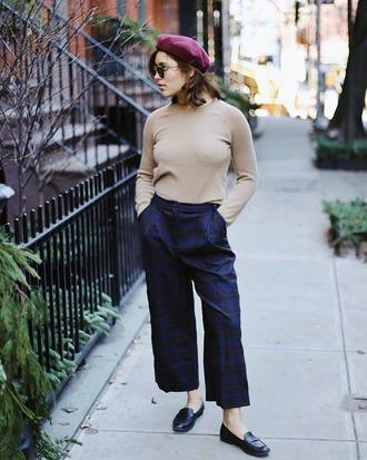 top tumblr nude top turtleneck pants blue pants tartan tartan pants cropped pants shoes loafers black loafers beret