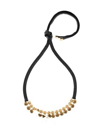 embellished necklace floral black jewels