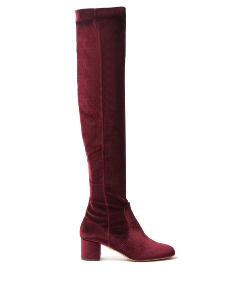 Aquazzura velvet dark dark red red shoes