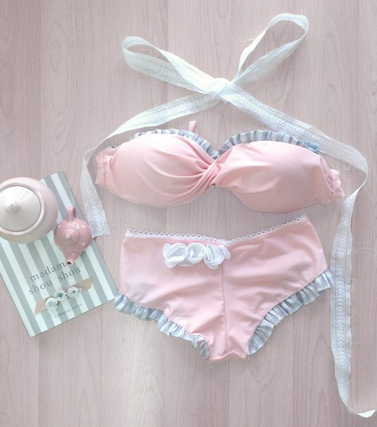 swimwear pastel girly swuimsuit clothes romantic rose pastel swimwear