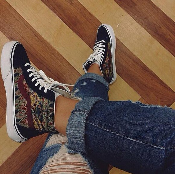 pattern sneakers vans vans pattern vans of the wall shoes runnning shoes patterned shoes
