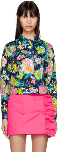 jacket denim jacket denim cropped floral multicolor