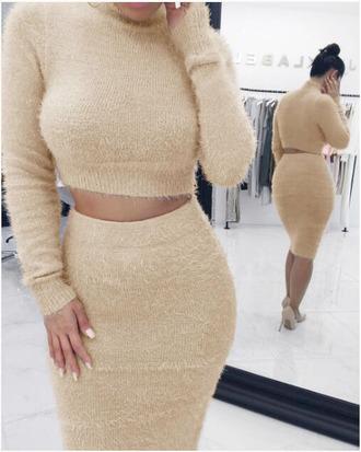 dress two-piece fluffy wool soft cream pink fall outfits skirt crop tops two piece dress set