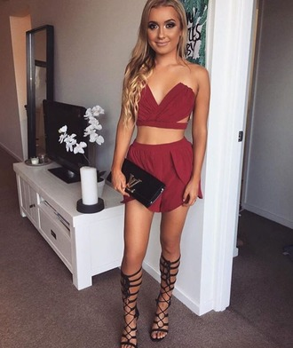 dress haute rogue co-ord set red set summer co-ord summer 2pcs 2 pc set