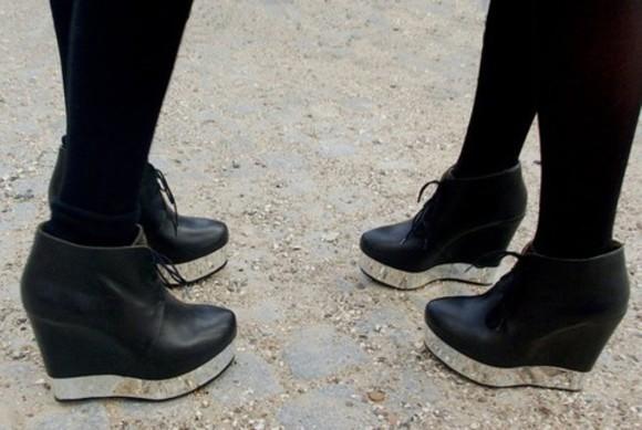 shoes wedge high heels mirror