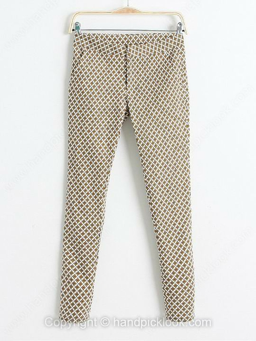 Khaki Floral Print Straight Fashion Pant - HandpickLook.com