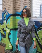 jacket,check blazer,belt,turtleneck,neon,jeans,handbag,sunglasses