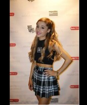 skirt,ariana grande,plaid skirt,chanel,chanel top,top,crop tops