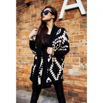 cardigan rose wholesale black and white winter outfits casual aztec tribal pattern streetwear instagram lookbook winter coat