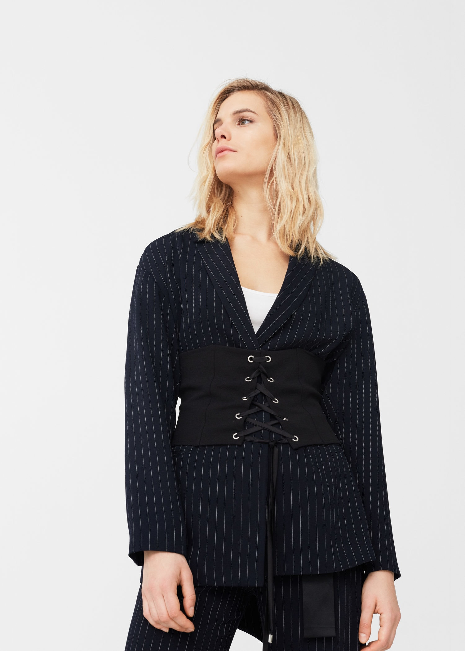 Pinstripe suit blazer - Women | MANGO USA