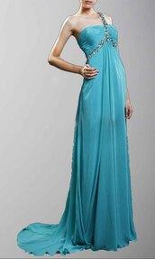 single shoulder dress,long formal dress,long prom dress,empire waist,light blue,floor length dress