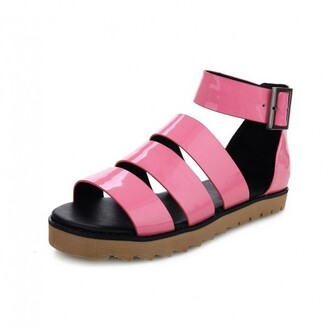 shoes patent pink faux leather ankle strap flat gladiator sandals cleated sole