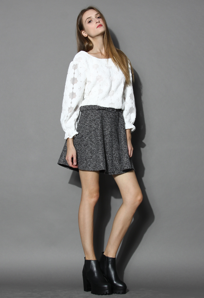 Coffee belted twill skater skirt