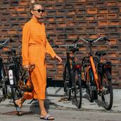dress,midi dress,slide shoes,sunglasses,earrings,long sleeve dress,orange dress