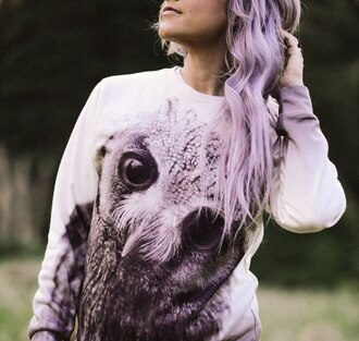 sweater print printed sweater owl print sweatshirt owl hair violet violet haircolor owl printed sweater photography hairstyles happy fall outfits fall sweater