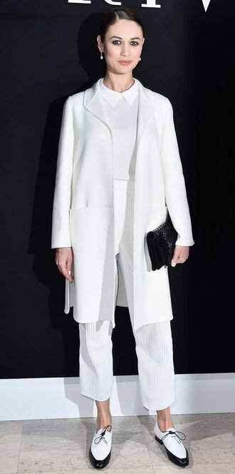 pants coat flats all white everything olga kurylenko fashion week 2016 blouse