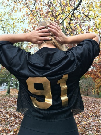 top black gold crop tops crop jersey football shirts cropped cute royalty dance comfy casual