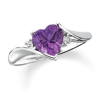 jewels ring purple silver heart