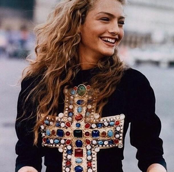 sweater girl cross gold jewerly