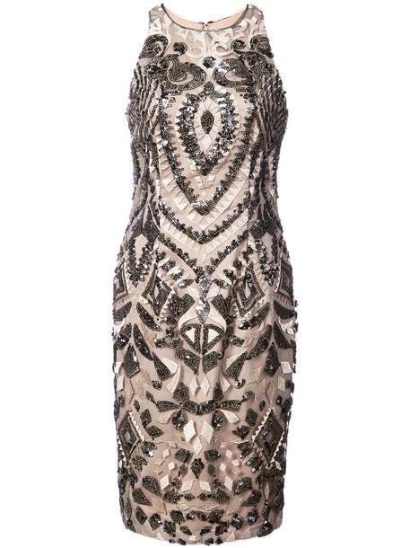 Aidan Mattox dress women spandex beaded nude
