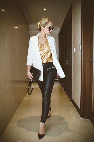 my blonde gal blogger leather pants gold sequins blazer bag top pants jewels jacket sunglasses shoes