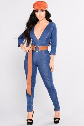 jumpsuit denim tight blue belt