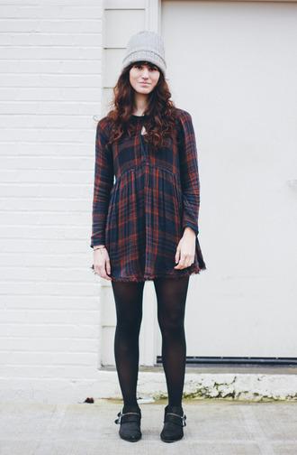 the mop top blogger tartan long sleeve dress winter dress knitted beanie
