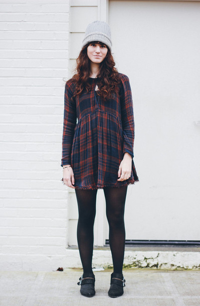 the mop top blogger tartan long sleeve dress winter dress knitted beanie