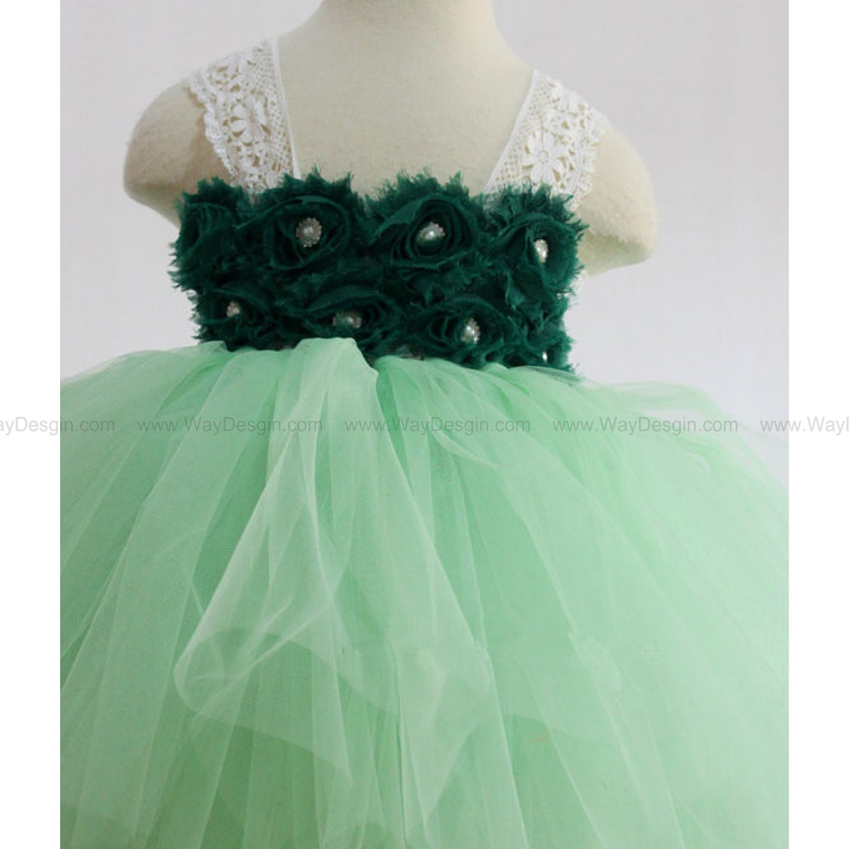 Flower Girl Dress Ice Mint lace tutu dress baby dress toddler birthday dress wedding dress