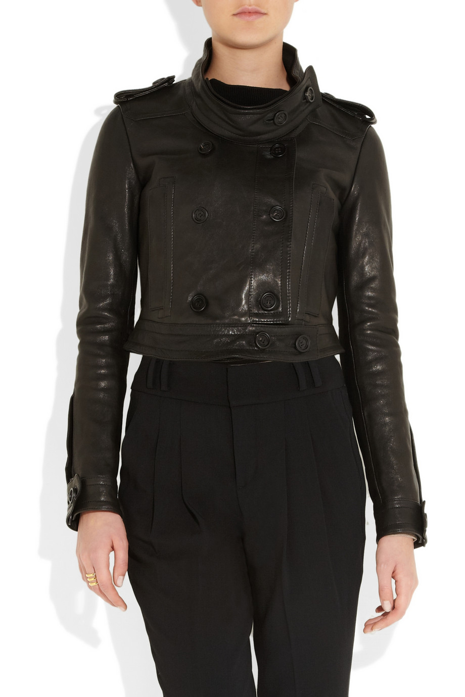 Burberry Prorsum Cropped leather biker jacket – 60% at THE OUTNET.COM