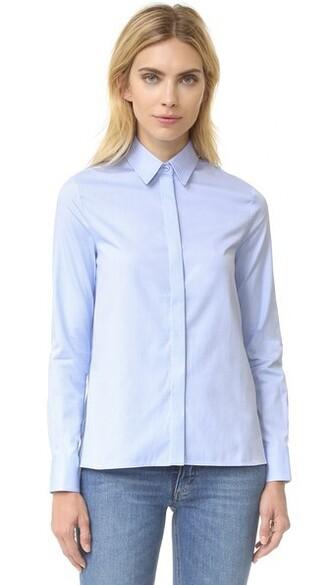 shirt pale classic blue top