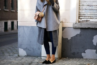 vasilieva blogger coat jeans cardigan bag
