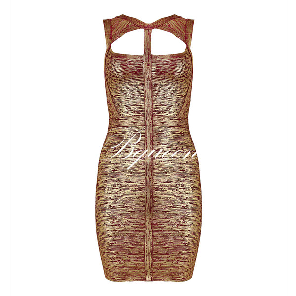 dress dress bqueen ustrendy fashion girl sexy chic party evening dress event gold cut-out halter neck elegant